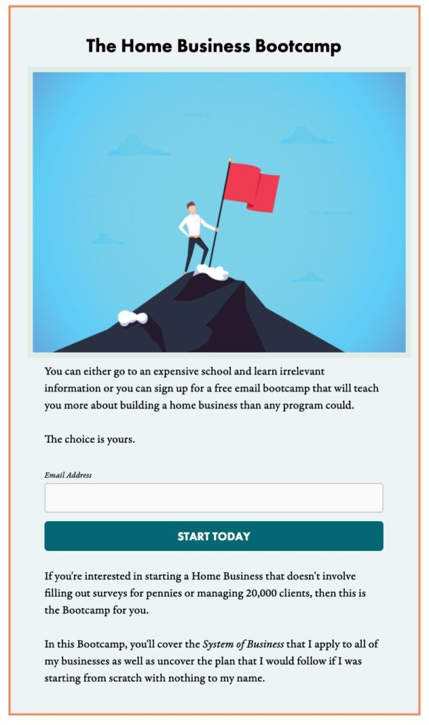 What is copywriting? Image of an example of an opt in box.