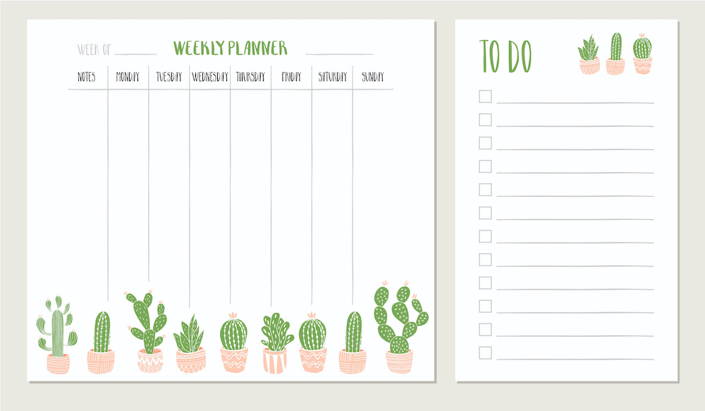 One of the types of digital products is a printable. This succulent theme calendar and to do list is an example.